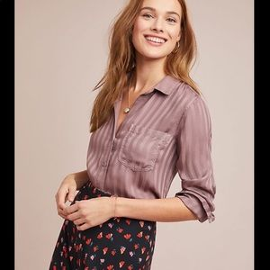 Cloth & Stone Anthropologie Top Button Up Stripe